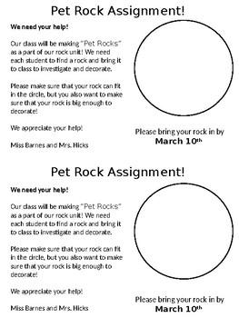 Pet Rock Parent Letter