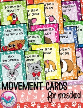 Pet Shop Animals Movement Cards for Preschool