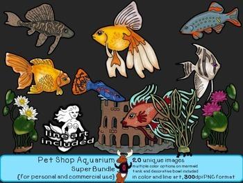 Pet Shop Aquarium - Freshwater Fish - Clip Art