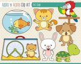 Pet Shop Clip Art - color and outlines