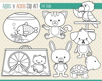 Pet Shop Clip Art - color and outlines