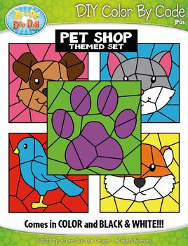 Pet Shop Color By Code Clipart {Zip-A-Dee-Doo-Dah Designs}