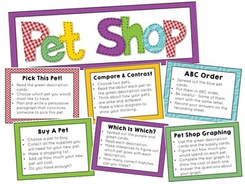 Math and Literacy Centers PET SHOP Theme