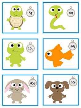Pet Shop Money Matching Game - Nickels - Math Folder Game