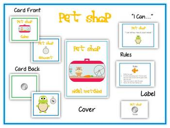 Pet Shop Money Matching Game - Nickels - Math Folder Game