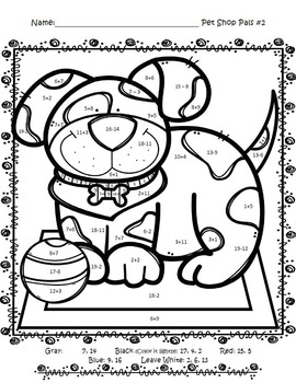 Pet Shop Pals ~ Color by Code ~ Addition and Subtraction
