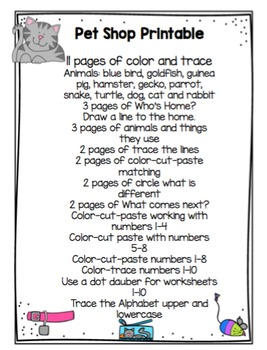 Pet Shop Printable
