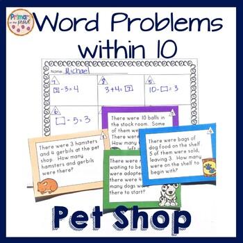 Pet Shop Problem Solving- Single Digits- Task Cards
