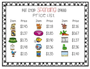 Pet Shop Spending Spree - Money Sums Up to Five Dollars