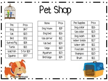Back to School FREEBIE  Pet Shop Subtraction