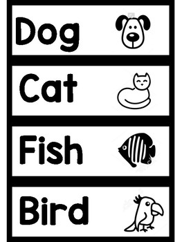 Pet Shop Word Wall