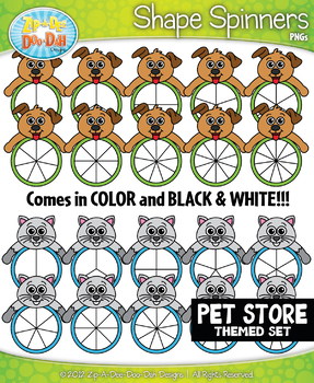 Pet Store Animals Spinner Shapes Clipart {Zip-A-Dee-Doo-Dah Designs}