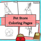 Pet Store Coloring Sheets with Animals and Accessories 25 pages