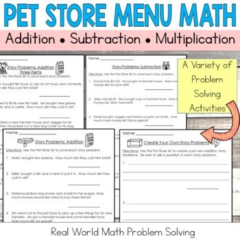 Pet Store Math Add, Subtract, Multiply: Money: Real-World Word Problem Solving