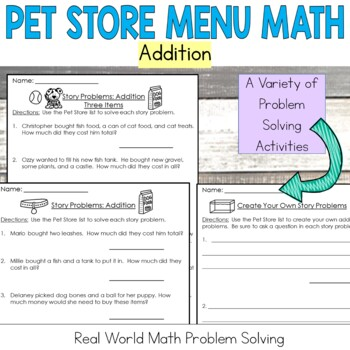 Pet Store Math Addition: Money: Real World Application: Word Problems
