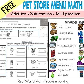 Pet Store Math Addition, Subtraction, & Multiplication: Money: FREEBIE