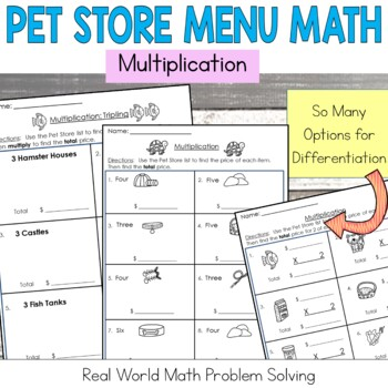 Pet Store Math Multiplication: Money: Real-World: Word Problems