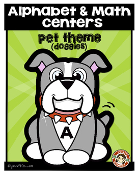 Alphabet & Math Centers - Dog Theme