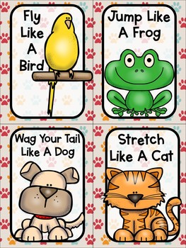 Pet Themed Brain Break Cards - Pet Themed Activities