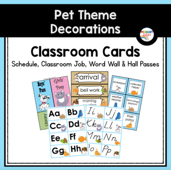 Classroom Word Wall and Schedule Cards (Pet-Themed Classroom Decor)