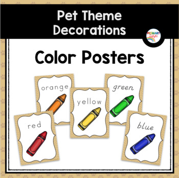 Color Word Posters (Pet-Themed Classroom Decor)