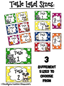 Pet Themed Table Labels