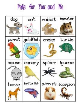 Pet Themed Vocabulary Words Chart Writing Station {FREEBIE}