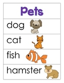 Pet Themed Word Cards and Word Walls in English and Spanish