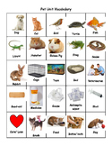 Pet Unit Vocabulary Bingo