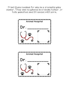 Be a Pet Vet: Veterinarian Name Tags