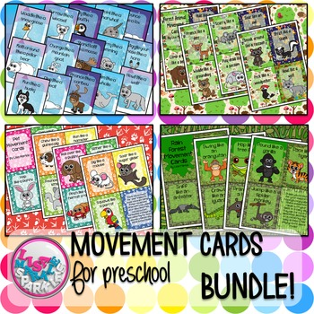 Pet Woodland Rain Forest Arctic Animal Movement Card Bundle for Preschool