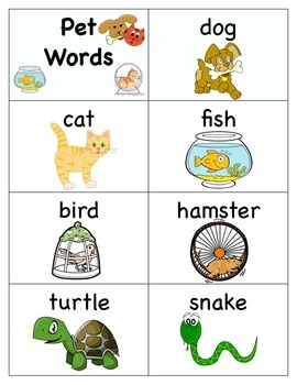 Pet Word Cards