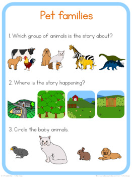 Pet families circle time questions