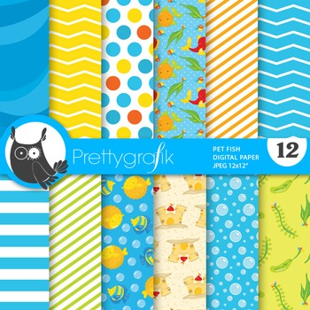 Pet fish papers, commercial use, scrapbook papers - PS741