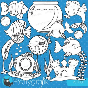 Pet fish stamps commercial use, vector graphics, images - DS715