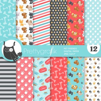 Pet friends papers, commercial use, scrapbook papers, patterns - PS912