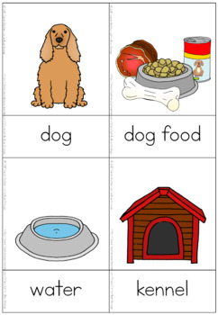 Pet animal needs nomenclature cards