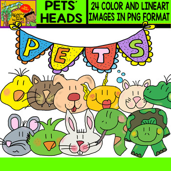 Pets´ Heads - Clipart Set - 24 Items