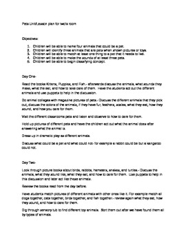 Pet unit lesson plans and assessment plan- rubric included
