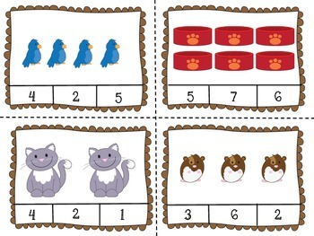 Pet/Animal Math Clip Cards {Numbers 1-16}