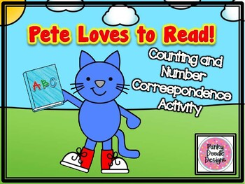 Pete Loves to Read! Counting and Number Correspondence Activity!