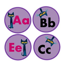 Pete The Cat Alphabet Labels (with Vowels Highlighted)