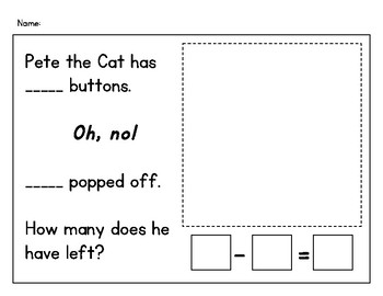 Pete The Cat And His 4 Groovy Buttons Subtraction Sheet