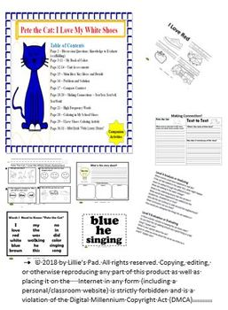 """Pete The Cat: """"I Love My White Shoes"""" Companion Activities"""