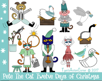 Pete The Cat Twelve Days of Christmas Visuals and Clip Art