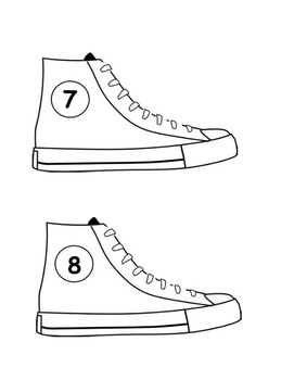 Pete The cat/Tennis Shoes with Numbers 2 per page
