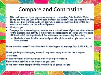 Pete the Cat-Compare and Contrast