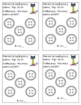 Pete the Cat Differentiated Math Journals Subtraction Story Problems