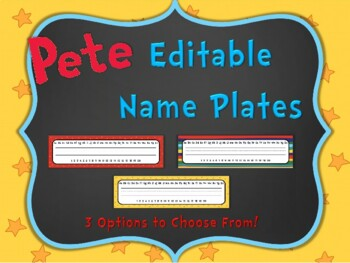 Pete the Cat Editable Name Plates