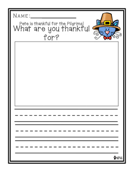 Pete the Cat First Thanksgiving Writing Prompt